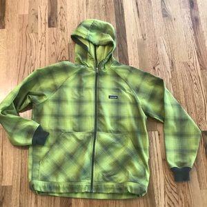 Patagonia L Fleece Lined Hoodie Jacket Green Plaid